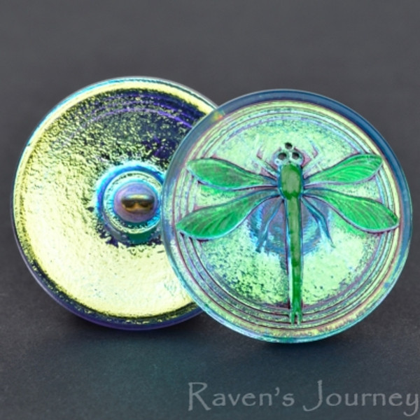 (30mm) Round Dragonfly Aqua Iridescent with Green Painted Dragonfly