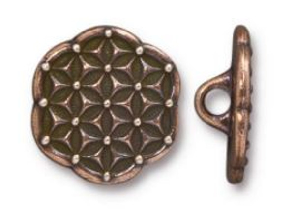 (16mm) Flower of Life Button, Antiqued Copper Plate (TierraCast) (Qty: 1)