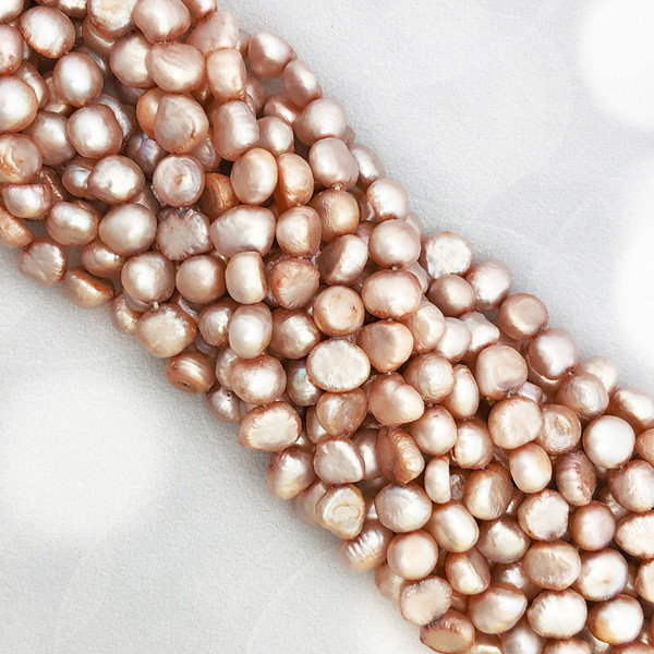 6-6.5mm Light Pink Fresh Water Pearls, Nugget (1 strand)