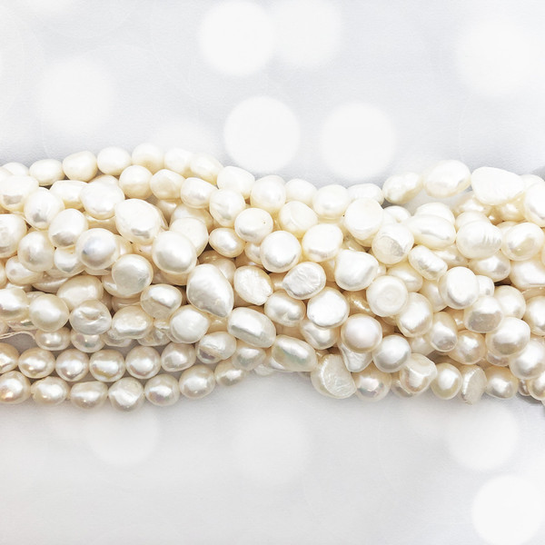 10mm White Fresh Water Pearls, Nugget (1 strand)