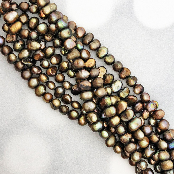 5-6mm Brown Fresh Water Pearls, Nugget (1 strand)