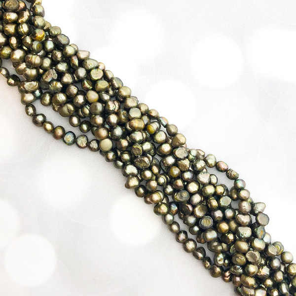 6-6.5mm Deep Taupe Fresh Water Pearls, Nugget (1 strand)