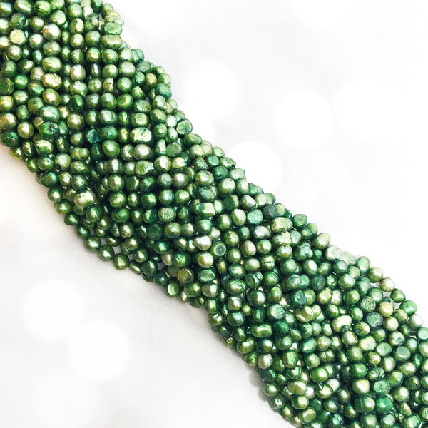 6.5-7mm Soft Green Fresh Water Pearls, Nugget (1 strand)