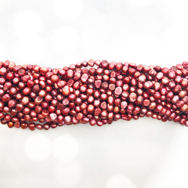 5-6mm Cranberry Fresh Water Pearls, Nugget (1 strand )