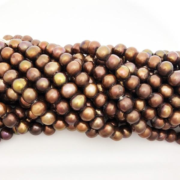 "8-8.5mm Bronze Freshwater Pearls, Big Hole Potato (8"" strand)"