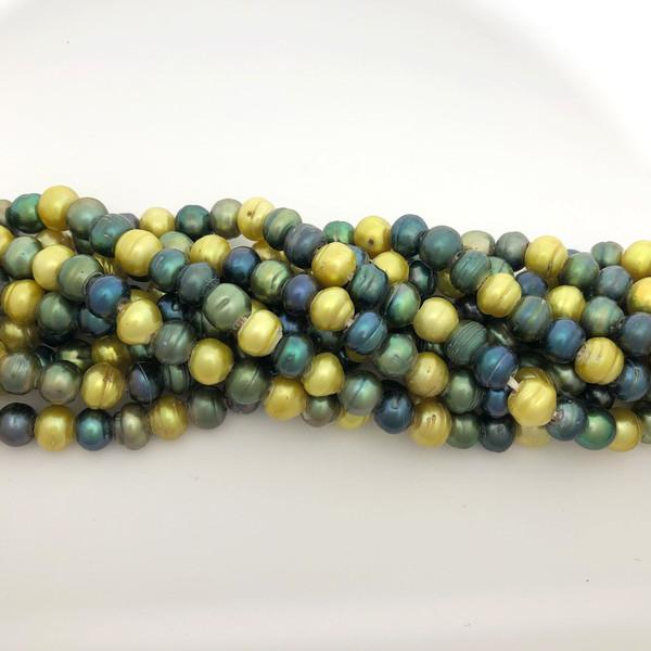 "7.5-8mm Green Mix Freshwater Pearls, Big Hole Potato (8"" strand)"