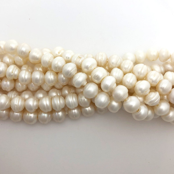 "9.5-10mm White Freshwater Pearls, Big Hole Potato (8"" strand)"
