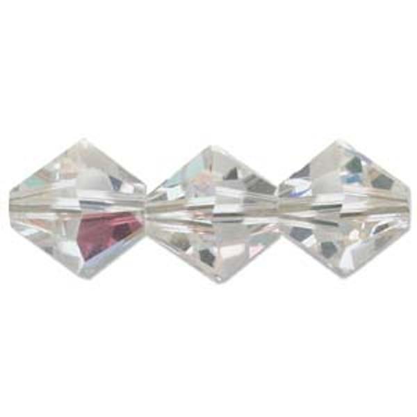 4mm Swarovski Bicones, Crystal AB (Qty: 50)