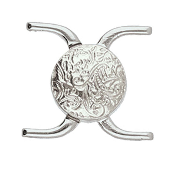 Cymbal Souda ii, 11/0 Magnetic Clasp, Antique Silver-Plated, 15.5 x 17.5mm (Qty: 1)