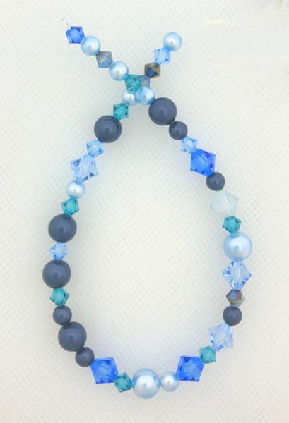 "Swarovski Bicones & Pearls Designer Blend, Sky Blue (7"", 36-38 beads)"