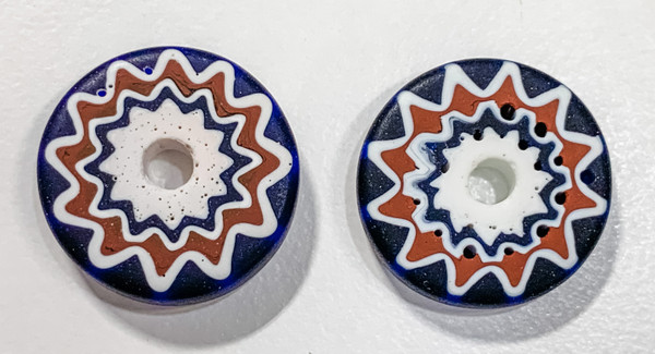 1820s Venetian 6-Layer Chevron Slice Beads, Never Traded - Mint Condition (set of 2 beads)