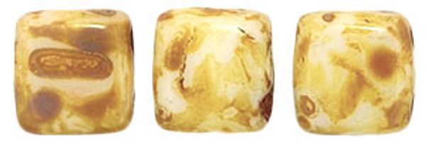 2-Hole Tile Beads, Alabaster Picasso (Qty: 25)