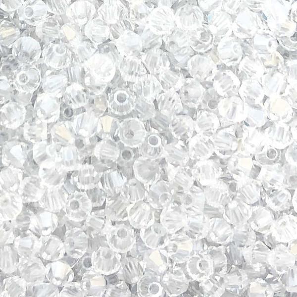 3mm Preciosa Bicones, Crystal Argent Flare (Qty: 50)