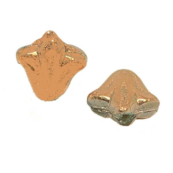 9mm Czech Glass Lily Beads, Full Capri Gold (Qty: 12)