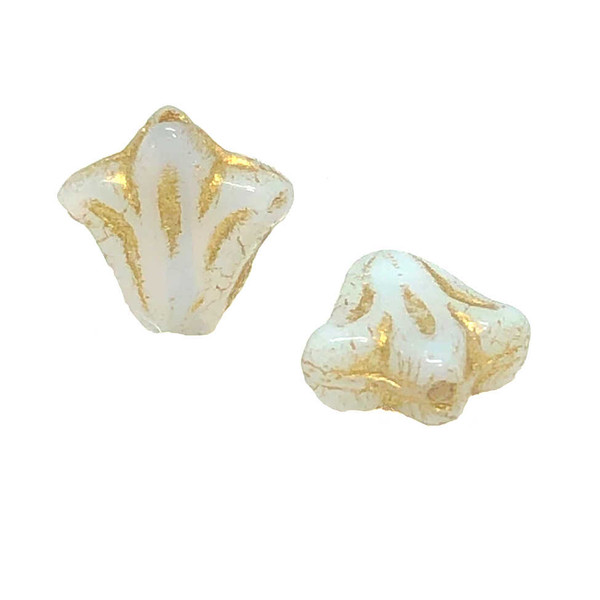 9mm Czech Glass Lily Beads, Alabaster Gold Wash (Qty: 12)
