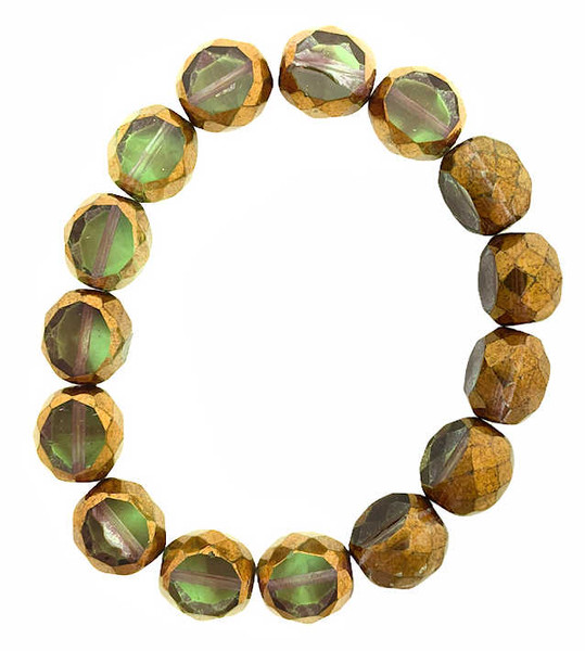 12mm Table Cut Fire Polish Beads, Light Green w/ Bronze Finish (Qty: 15)