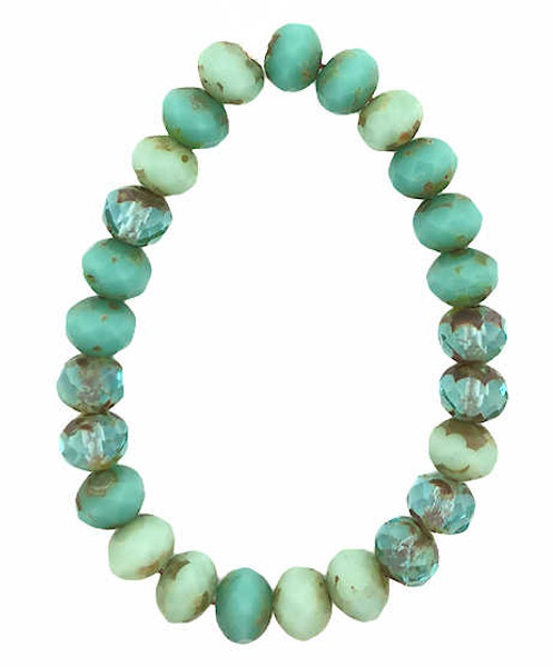 Faceted Rondelles, Tea Green & Sea Green Mix w/ Picasso Finish, 5x7mm (Qty: 25)