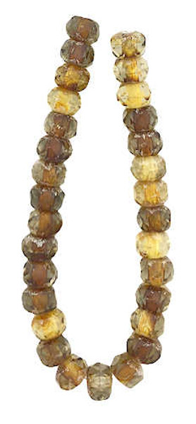 Faceted Rondelles, Grey & Amber w/ Silver Finish, 3x5mm (Qty: 30)