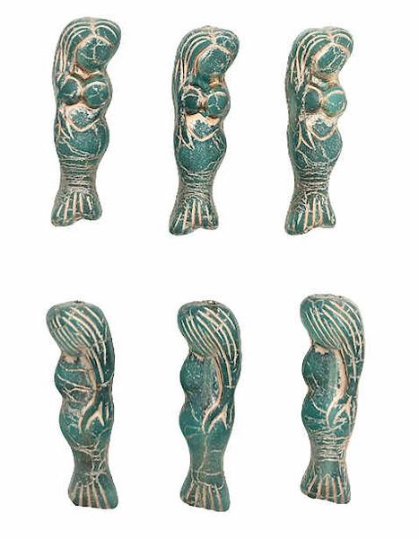 Mermaid Beads, Teal w/ Metallic Beige Wash, 5x25mm (Qty: 6)