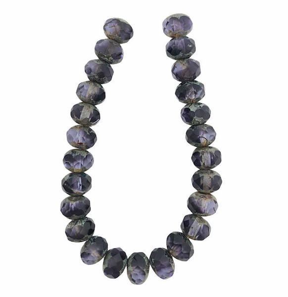 Faceted Rondelles, Purple Pansy & Grape w/ Picasso Finish, 6x8mm (Qty: 25)