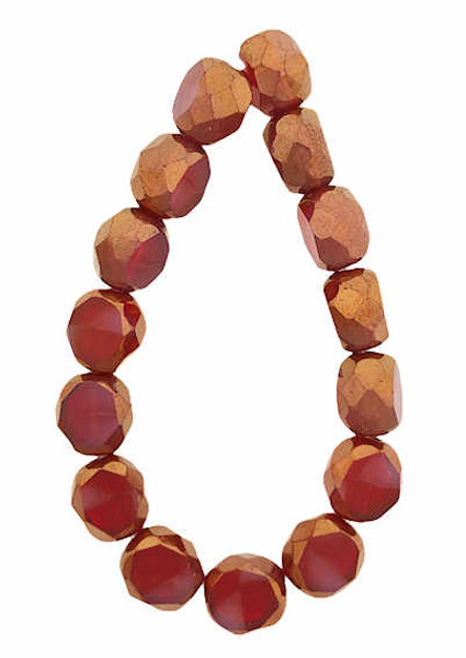 8mm Table Cut Fire Polished Beads, Ruby & Rosewood w/ a Bronze Finish (Qty: 15)