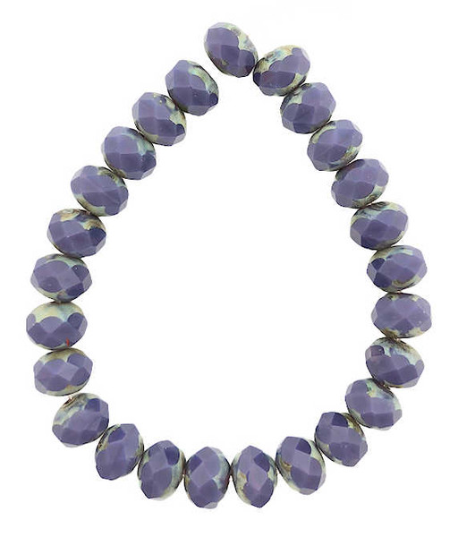 Faceted Rondelles, Violet w/ Picasso Finish, 6x8mm (Qty: 25)