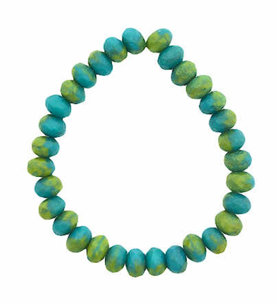 Faceted Rondelles, Blue-green & Chartreuse w/ Etched Finish, 3x5mm (Qty: 30)