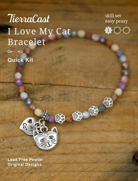 TierraCast I Love my Cat Bracelet Kit, Stretch Cord (Beginner)