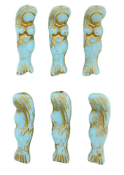 Mermaid Beads, Sky Blue w/ Gold Wash, 5x25mm (Qty: 6)