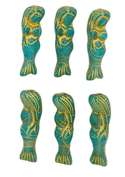 Mermaid Beads, Matte Teal w/ Bronze Wash, 5x25mm (Qty: 6)