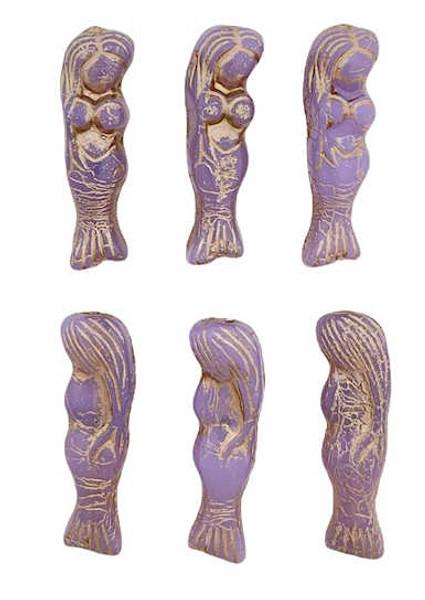 Mermaid Beads, Thistle Purple w/ Metallic Beige, 5x25mm (Qty: 6)