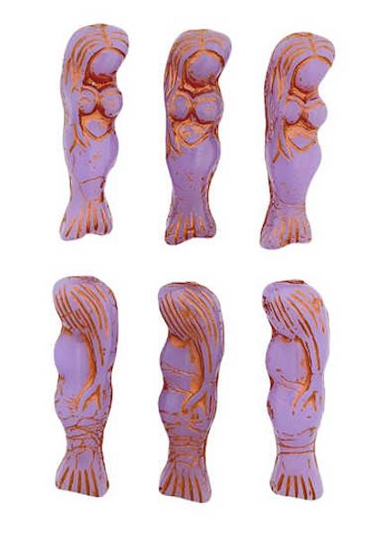 Mermaid Beads, Amethyst w/ Copper, 5x25mm (Qty: 6)