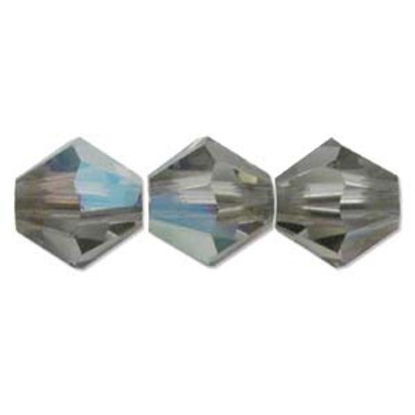 3mm Swarovski Bicones, Black Diamond AB (Qty: 50)