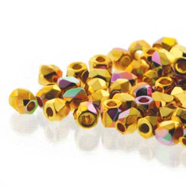 2mm Fire Polish, 24kt Gold-Plated AB (True 2) (Qty: 50)