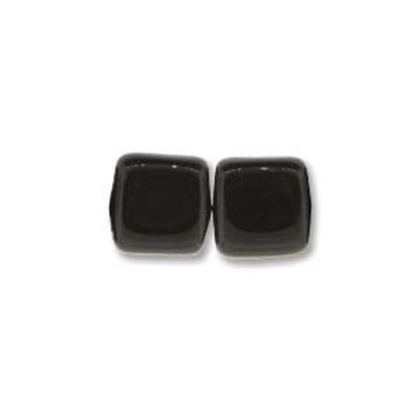 2-Hole Tile Beads, Jet (Qty: 25)