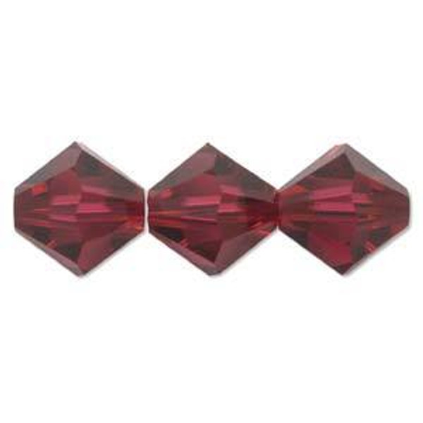 4mm Swarovski Bicones, Ruby AB (Qty: 50)