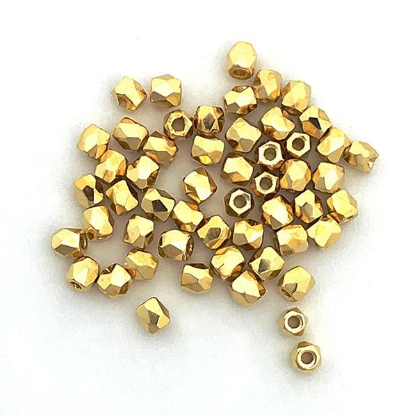 2mm Fire Polish, 24kt Gold-Plated (True 2) (Qty: 50)