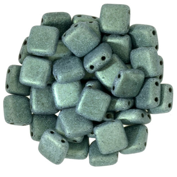 2-Hole Tile Beads, Light Green Metallic Suede (Qty: 25)