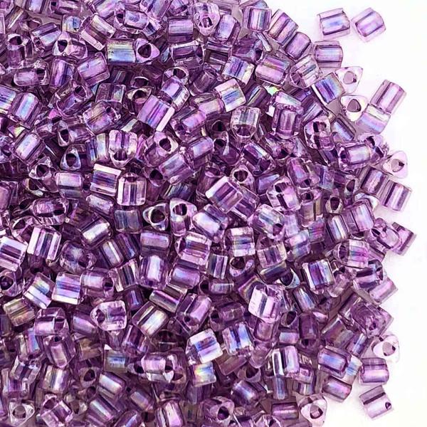 11-TRI-0252, Purple-Lined Aqua Triangles (28 gr.)