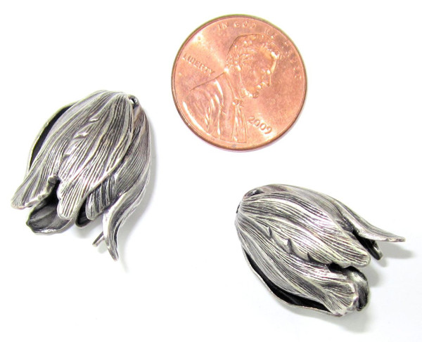 Large Tulip End Caps, Silver-Plated, 15x20mm (Qty: 2)