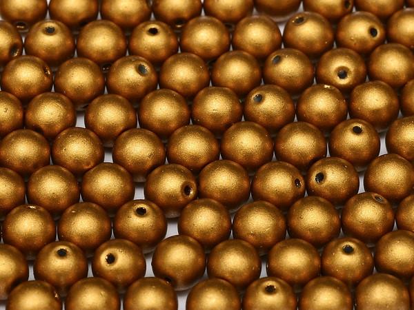 4mm Round Glass Beads, Brass Gold (Qty: 50)