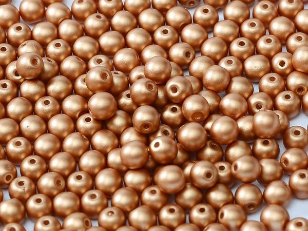 4mm Round Glass Beads, Metallic Copper (Qty: 50)