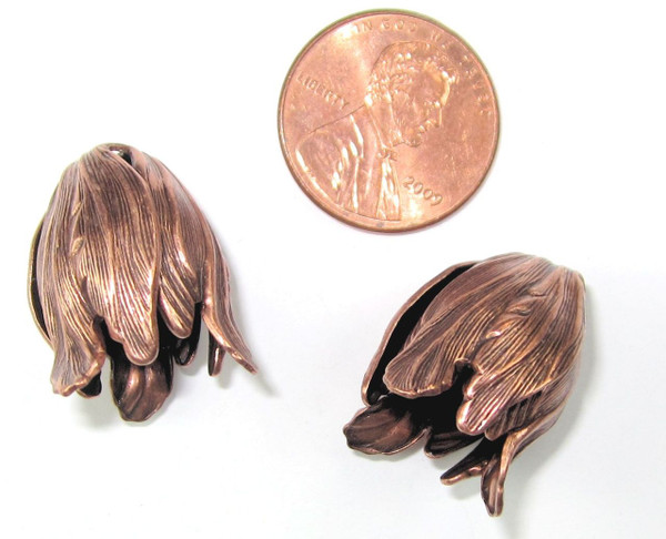 Large Tulip End Caps, Copper-Plated, 15x 20mm (Qty: 2)