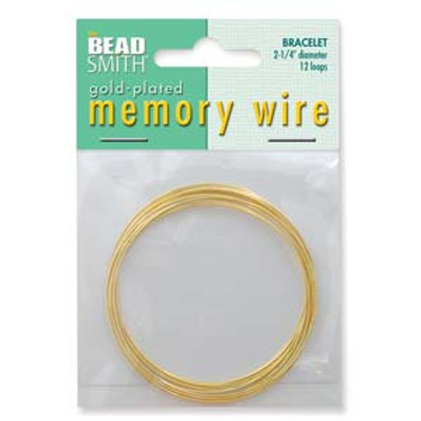 "Memory Wire - Round Bracelet - 2.25"" (Medium) - Gold (12 loops)"