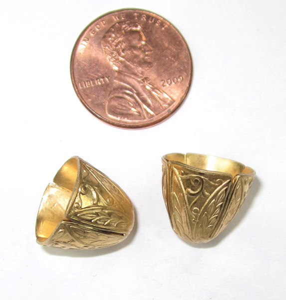 Art Deco Wide End Caps, Matte Gold-Plated, ID 12mm (Qty: 2)