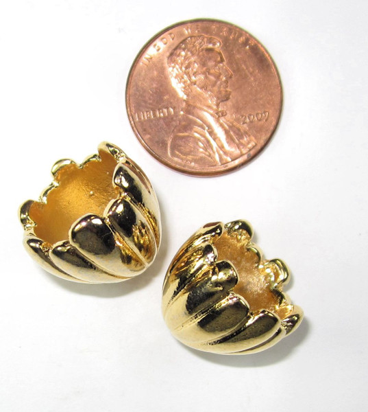 Gold-Plated Fluted End Caps, ID 11.25mm (Qty: 2)
