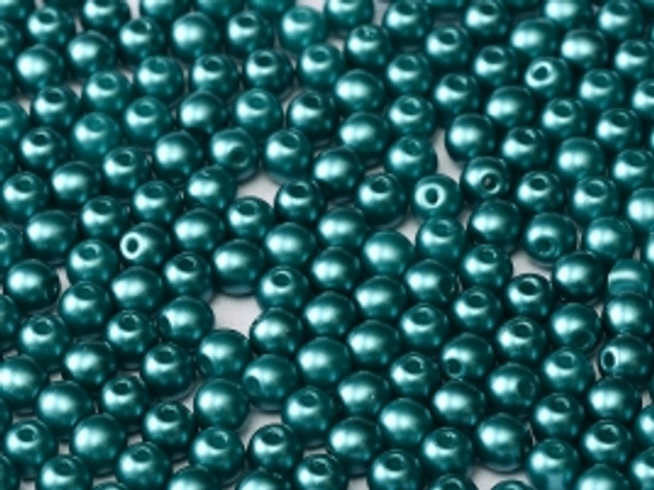 4mm Round Glass Beads, Pastel Emerald (Qty: 50)