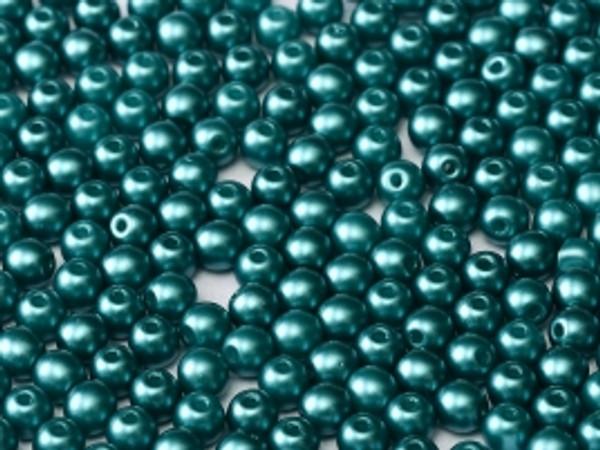 4mm Round Glass Beads, Pastel Emerald (Qty: 50)