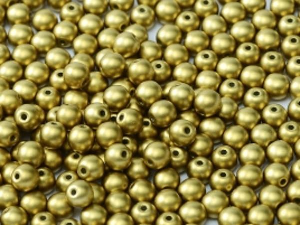 4mm Round Glass Beads, Metallic Olivine (Qty: 50)