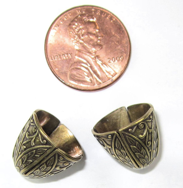 Art Deco Wide End Caps, Antique Brass, ID 12mm (Qty: 2)